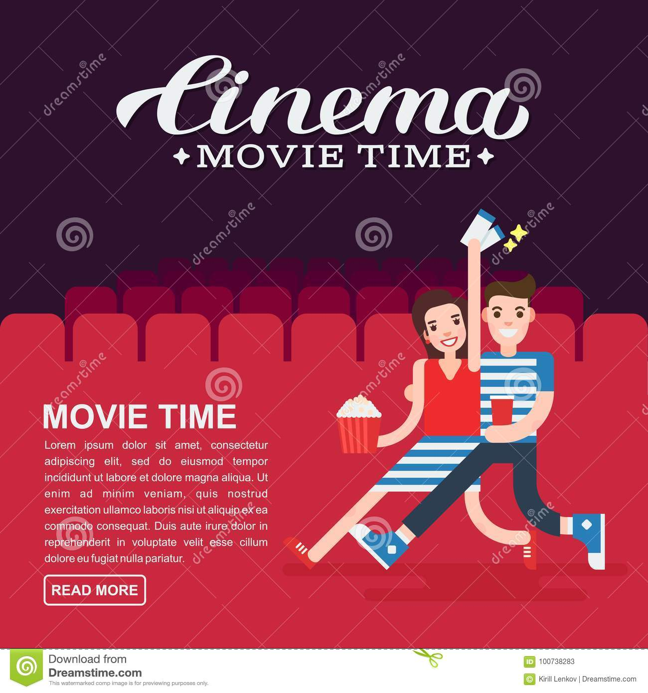 Cinema Poster Or Movie Banner Template Lettering Writing Couple