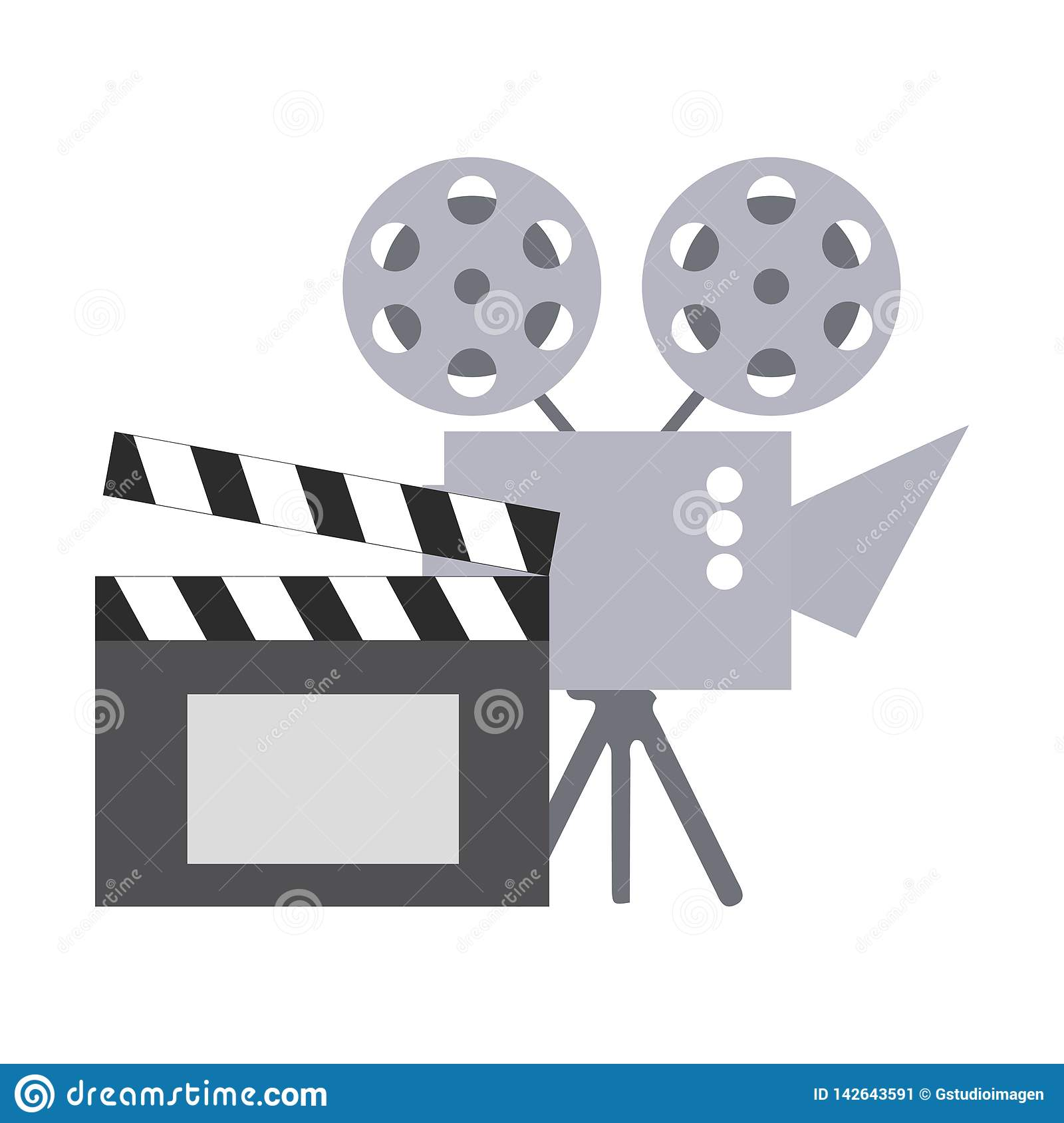 Cinema projector and clapperboard isolated icon
