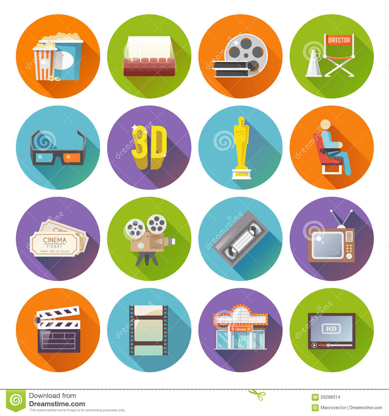 Cinema Retro Icons Set Cartoon Vector | CartoonDealer.com ...