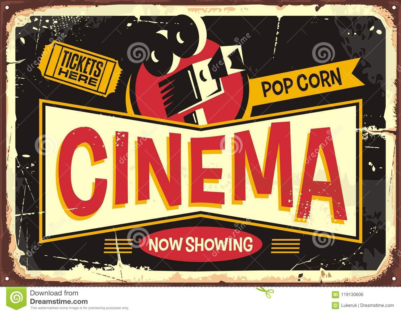 Cinema Retro Tin Sign Vector Design Template Vintage Entertainment Poster Layout With Movie Camera And Ticket On Black Background