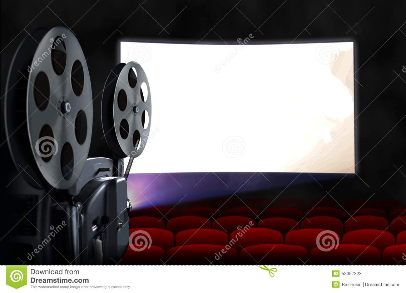 Cinema screen with empty seats and projector