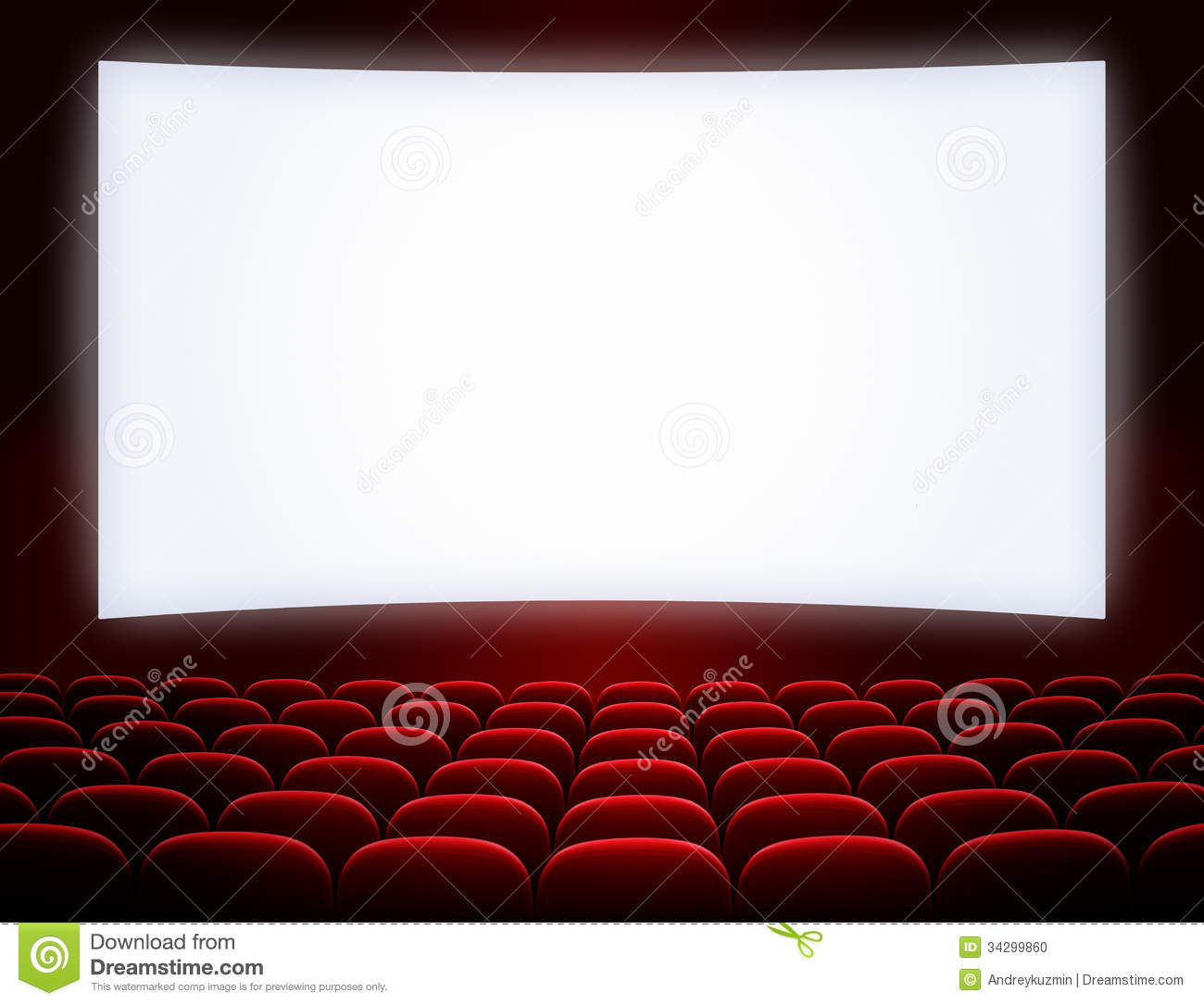 Cinema Screen With Seats Stock Photo Image 34299860