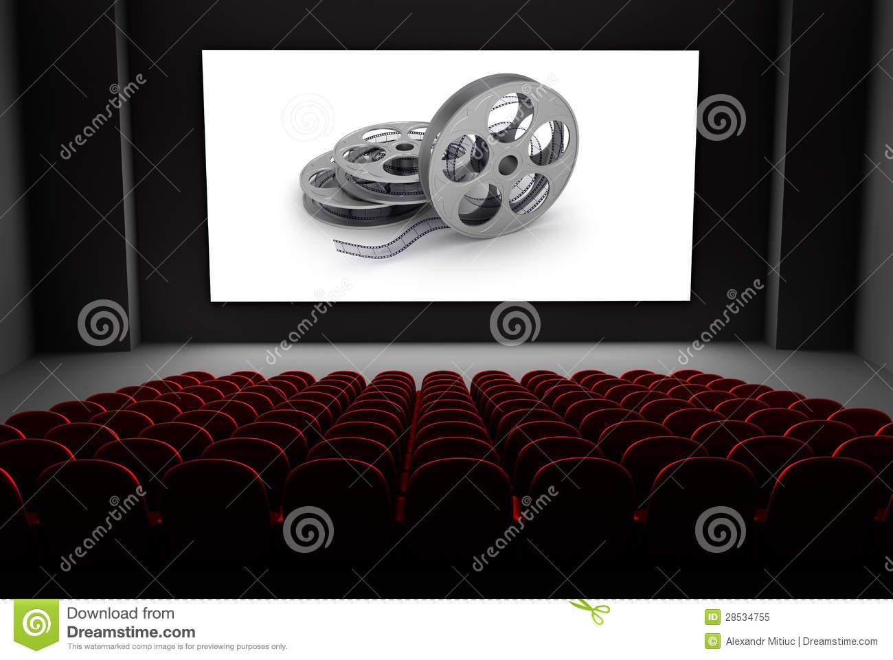 Cinema theater with reels of film on the screen.