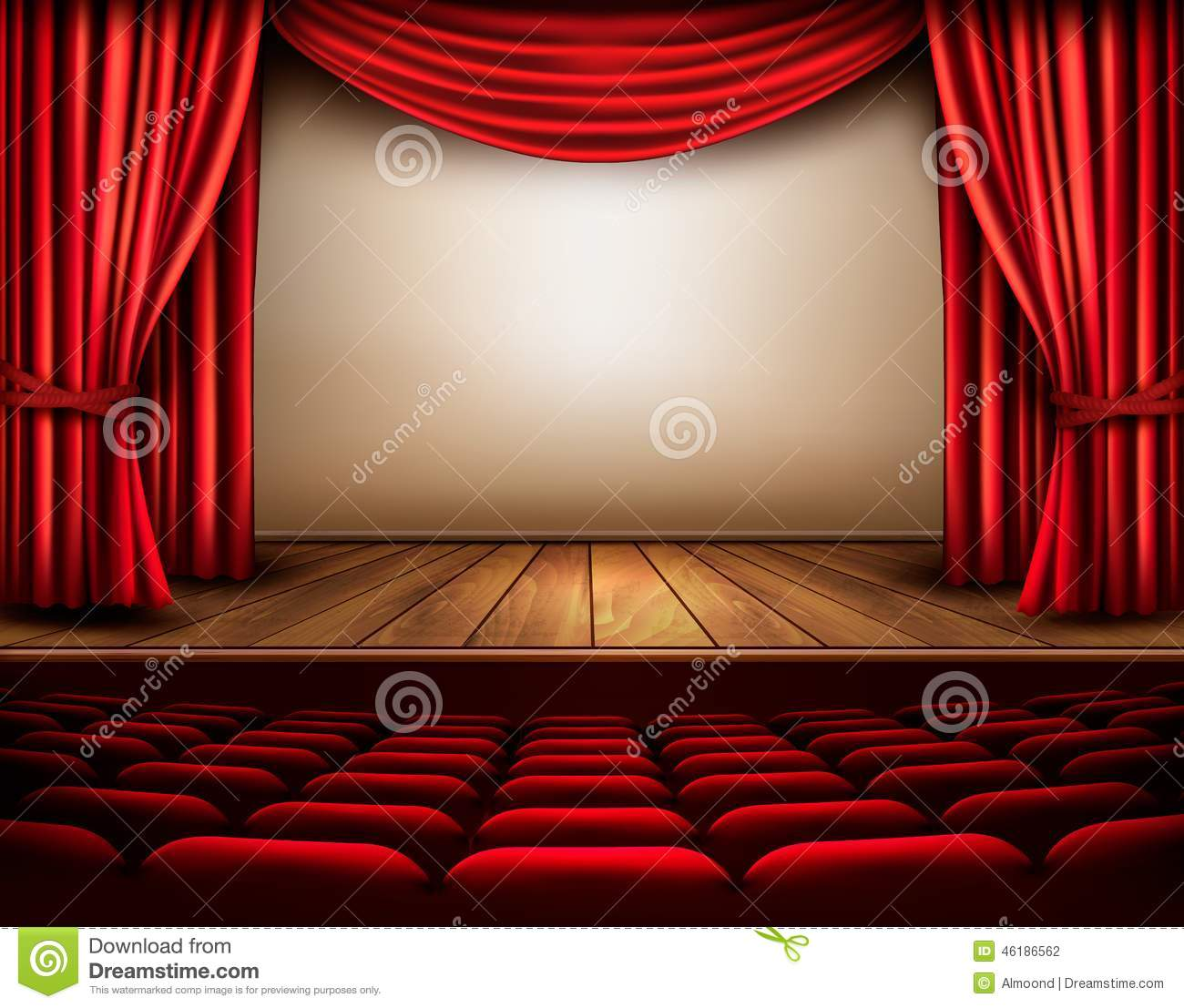 Cinema Or Theater Scene With A Curtain. Stock Vector