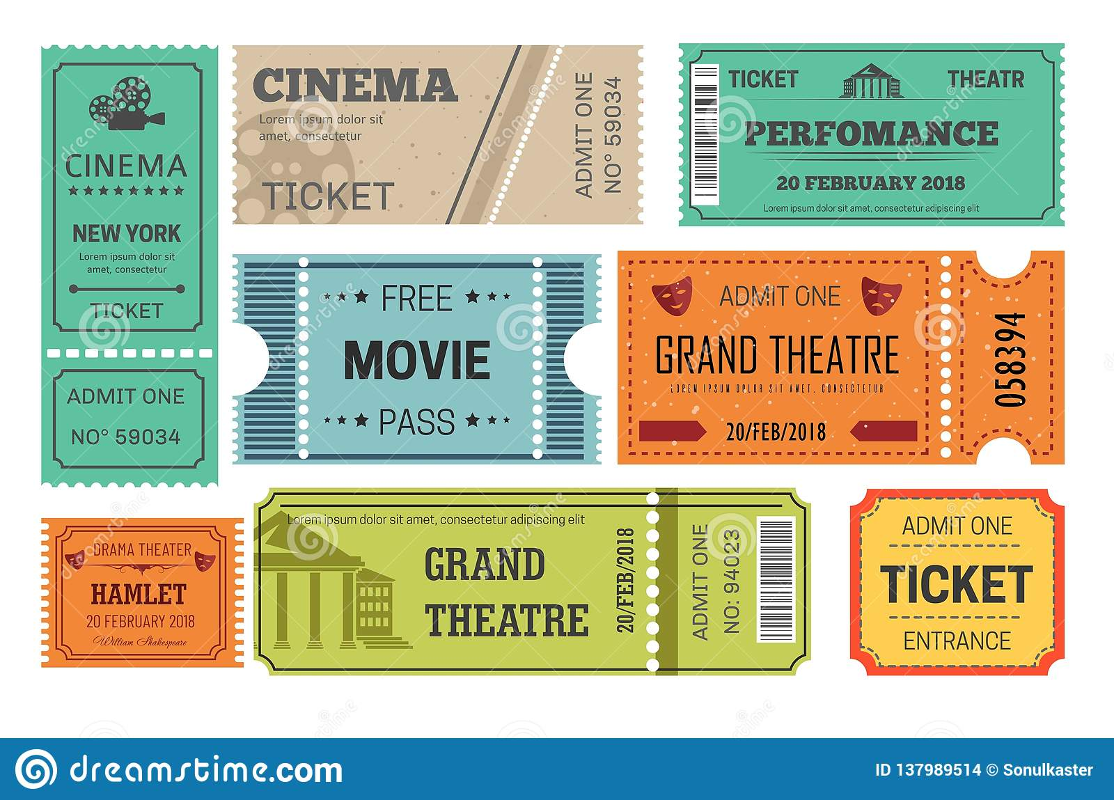 Ticket cinema and theatre admission or paper pass