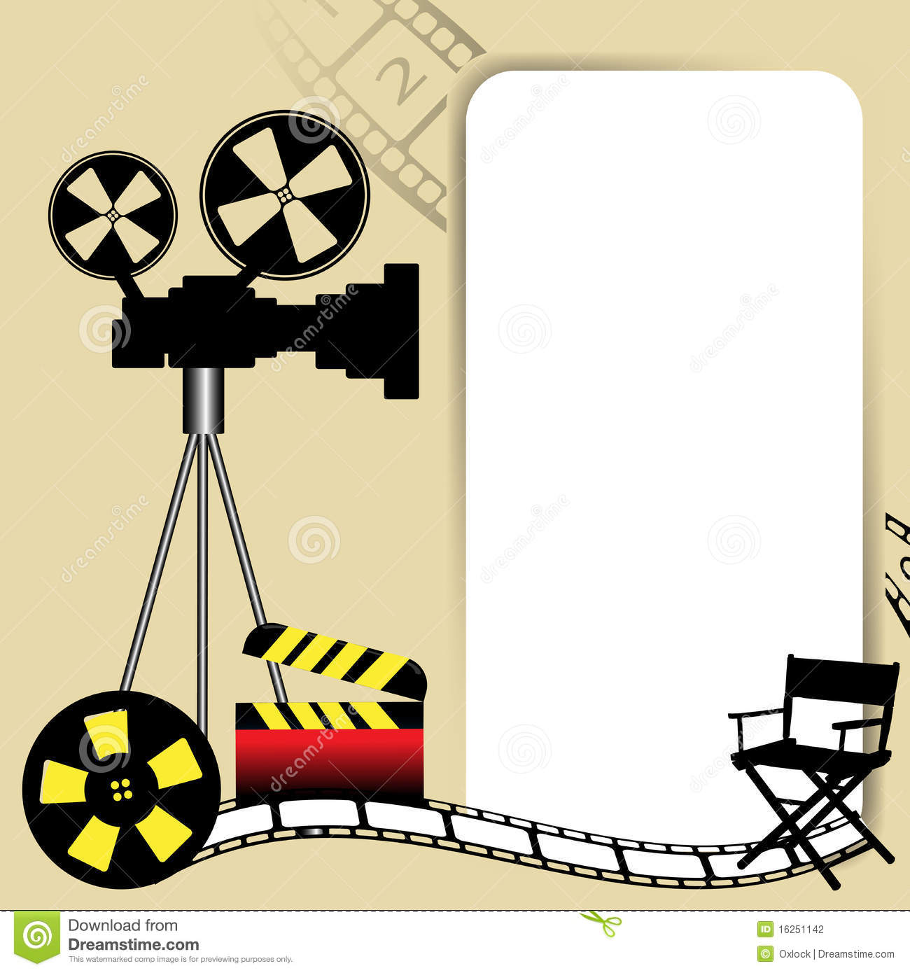 ... white frame, movie camera, film reel ... Movie Reel Background Blue