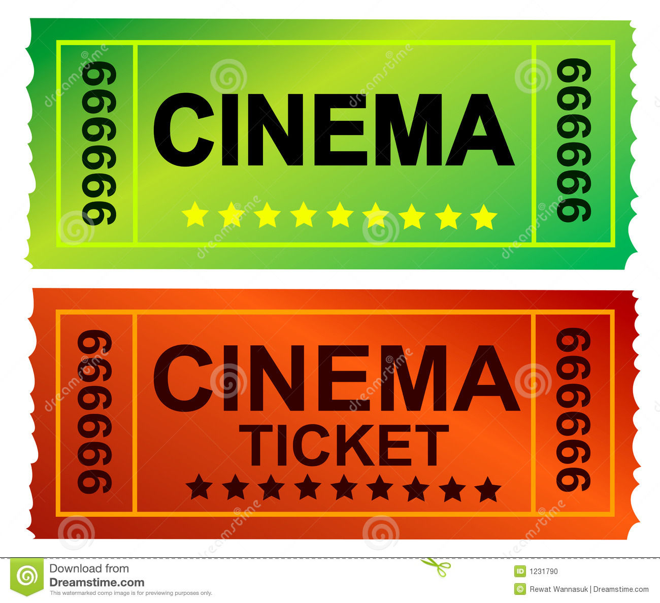 Photo of a Admit One Ticket and cinema ticket series.