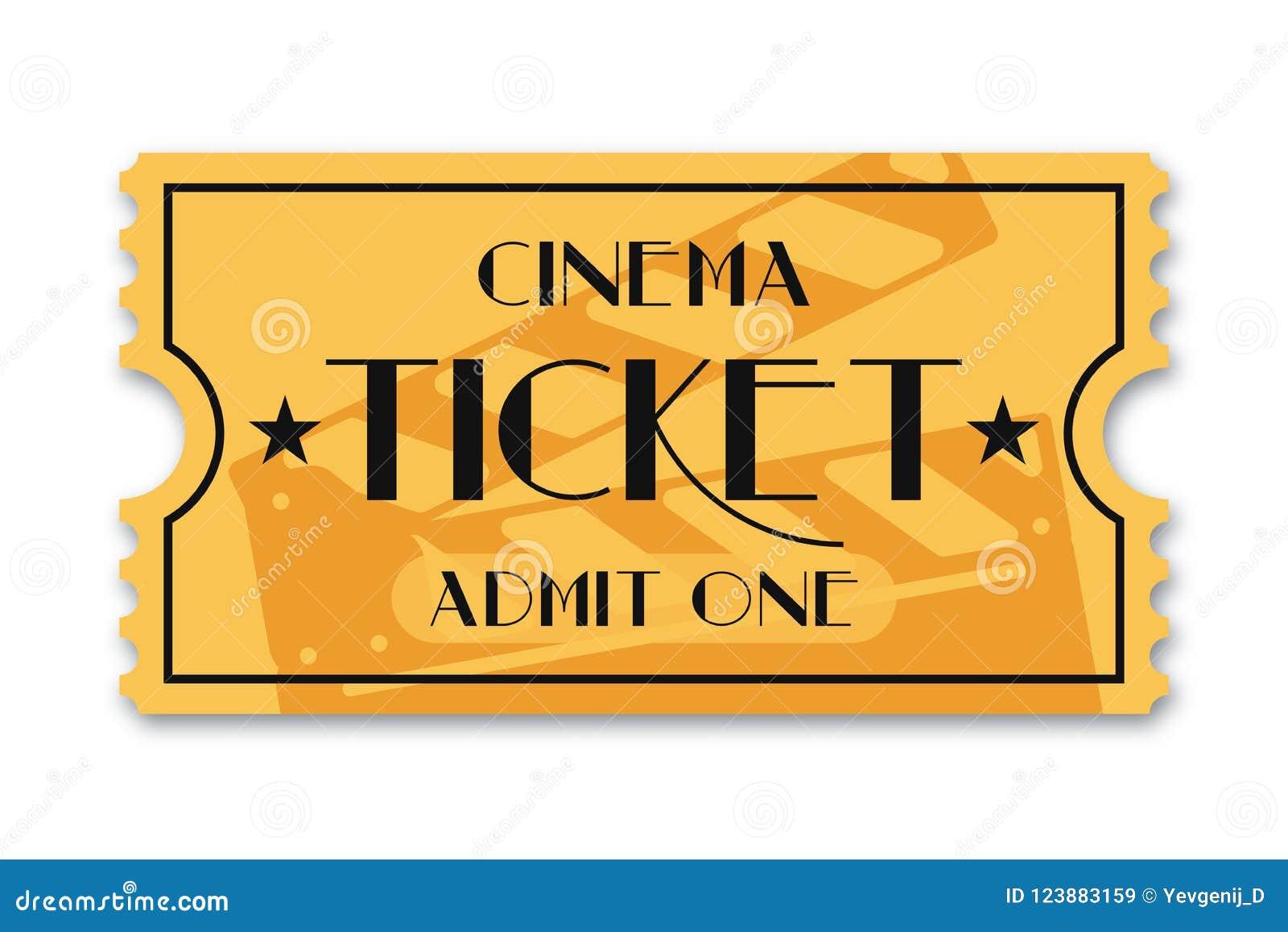 Cinema Ticket Isolated On Background. Vintage Admission Movie Ticket ...