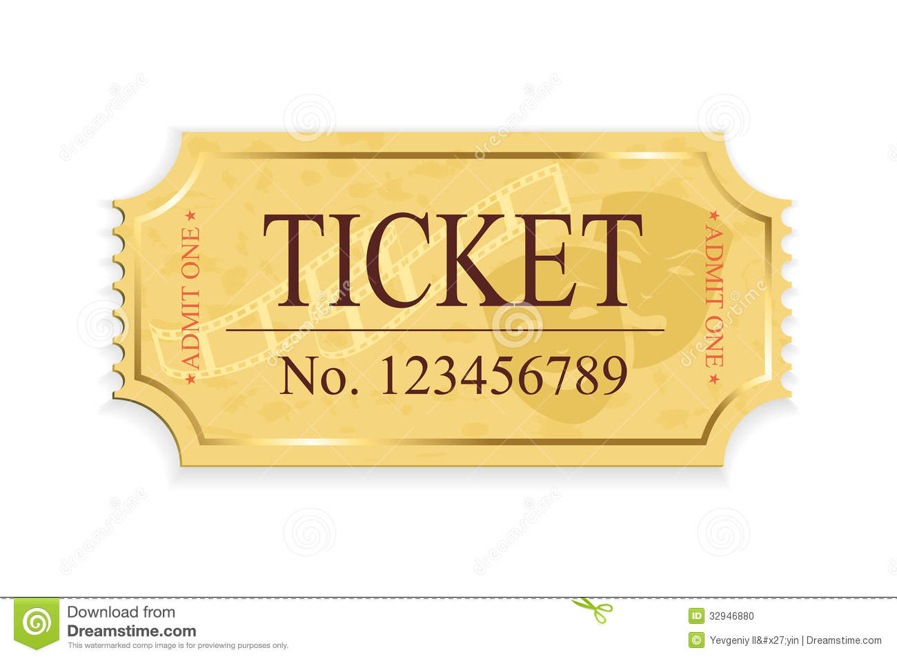 Old cinema ticket isolated on a white background, illustration.