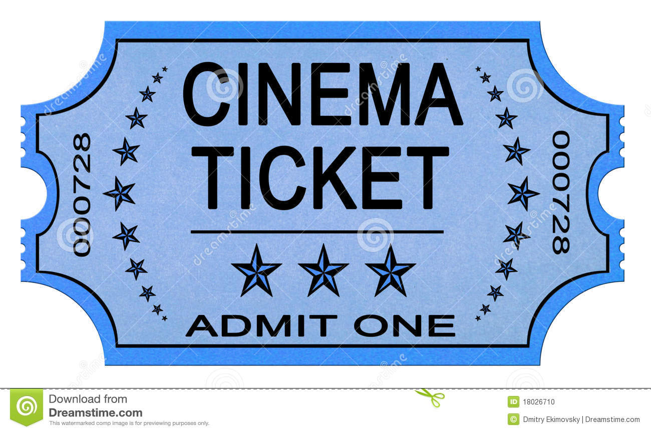 Cinema Ticket On White Stock Photo - Image: 18026710
