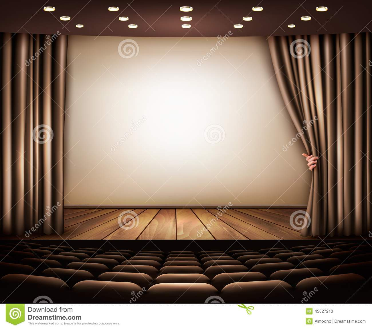 Download Cinema With White Screen Curtain And Seats Stock Vector