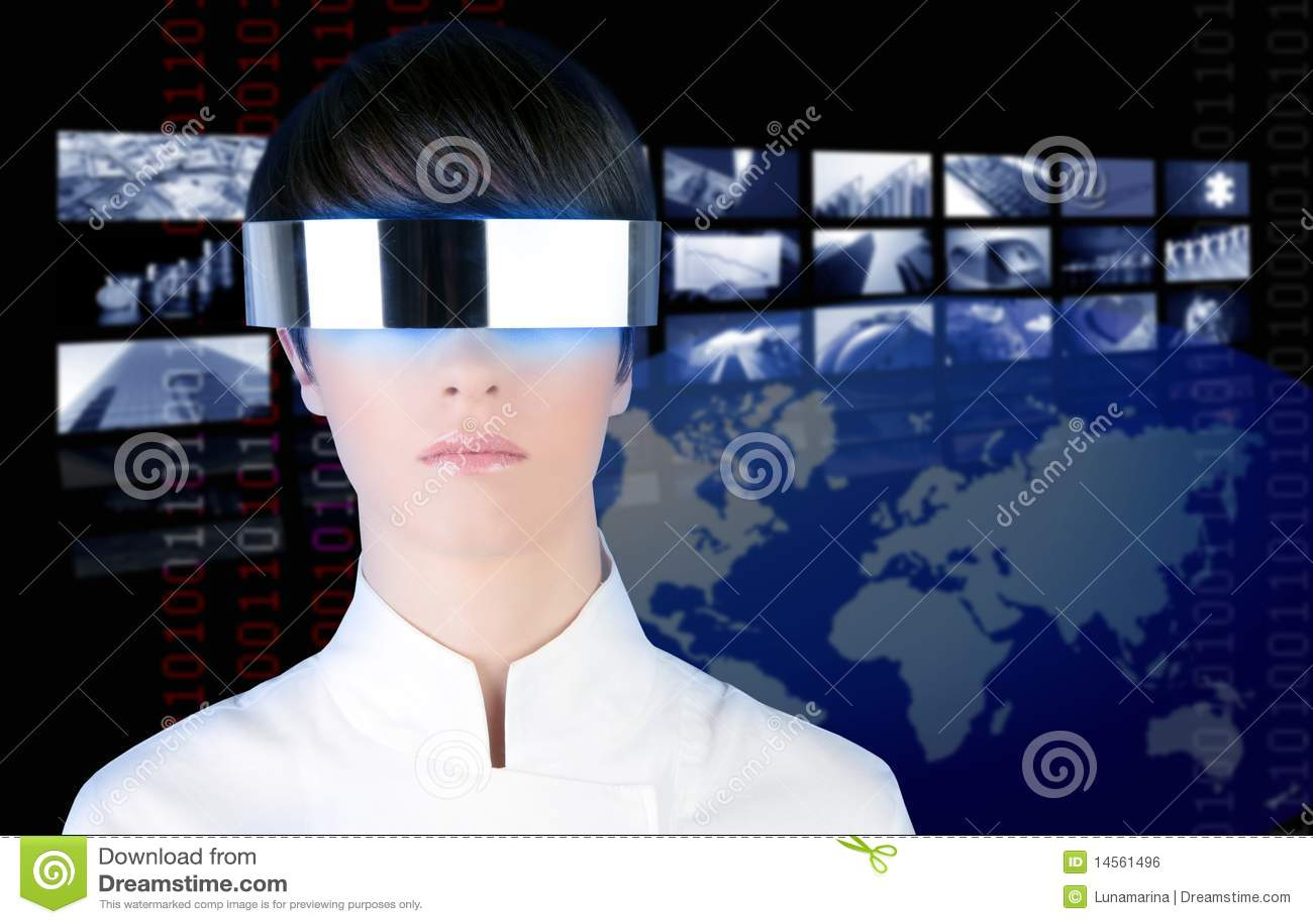 Cinematografo futuristico d argento di notizie della donna TV di vetro