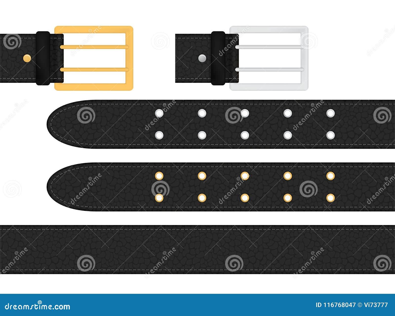Cinghia di cuoio nera senza cuciture con argento metallico ed il fermaglio dorato Illustrazione isolata di vettore