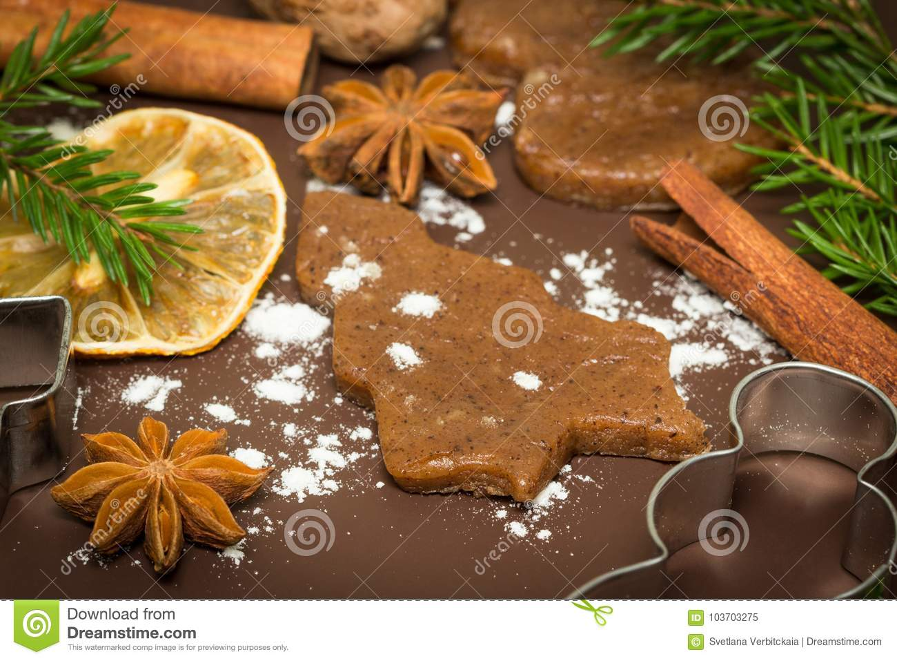 Cinnamon Anise Nutmeg With Cutlery For Christmas Cookies Stock