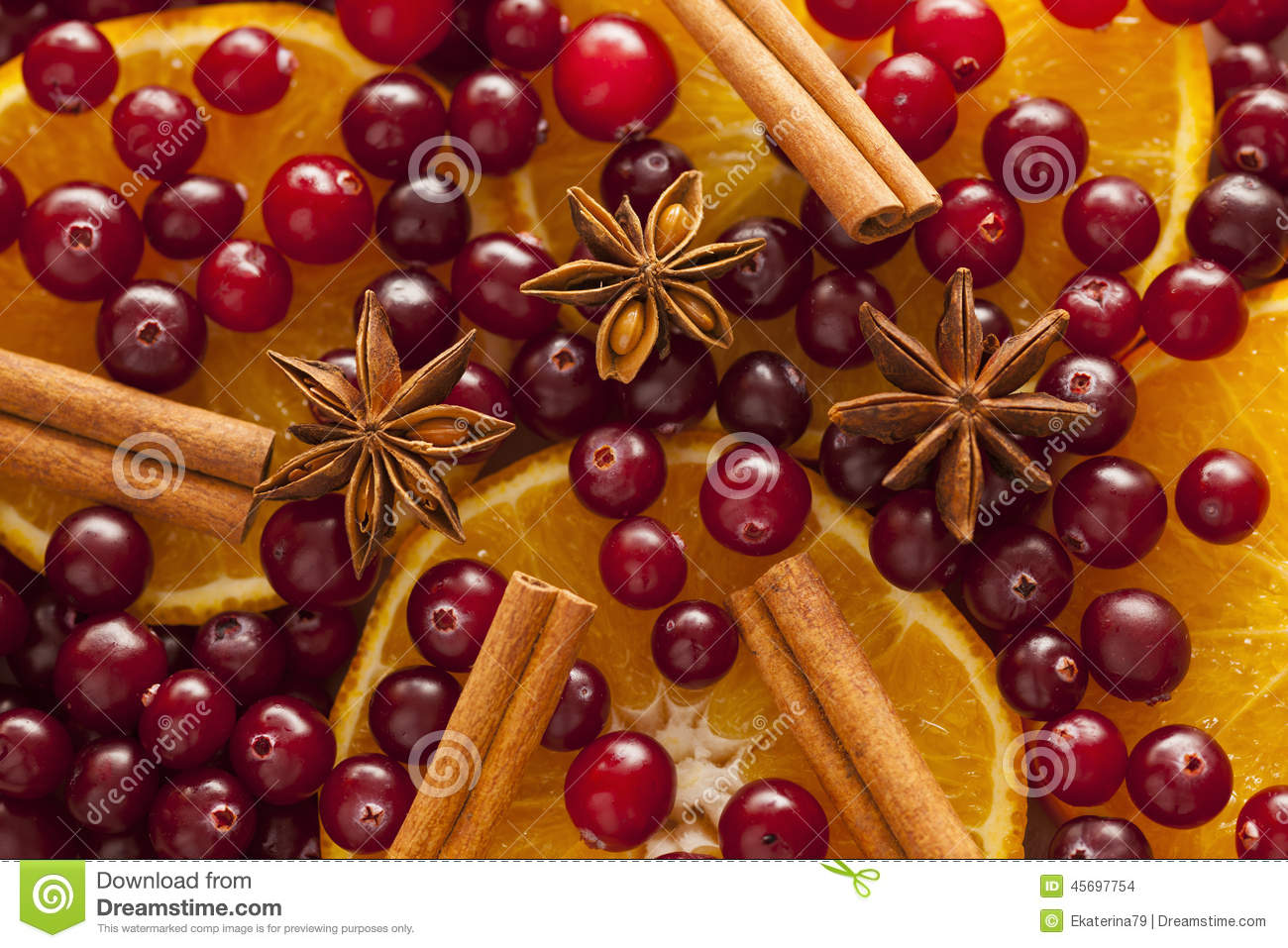 Cinnamon anise orange slices and cranberries stock photo for Spiced cranberry sauce with orange and star anise