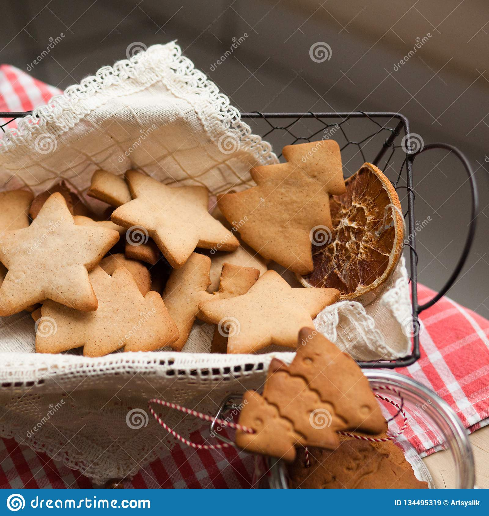 Christmas Mood Family Time Cooking Gingerbread Biscuits Stock