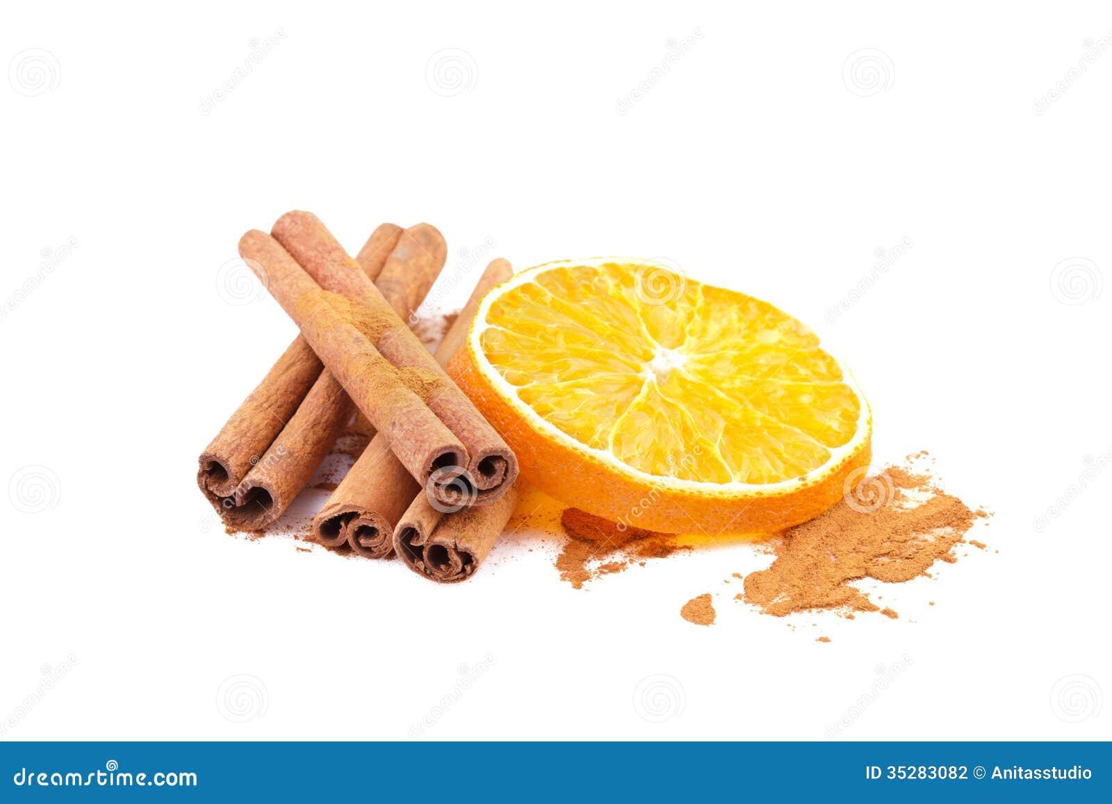 cinnamon and orange slice stock photography   image 35283082