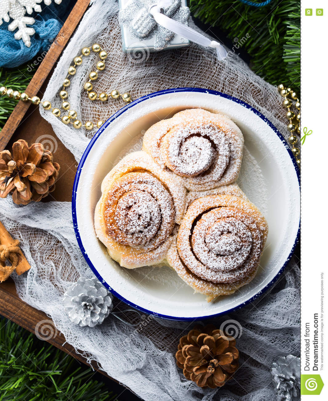 Cinnamon Roll Buns With Christmas Decorations. Vertical ...