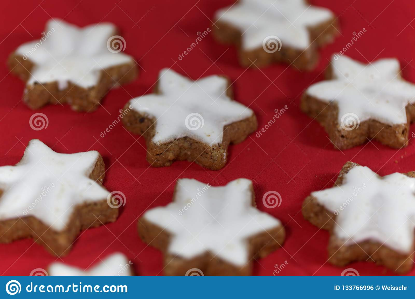 Cinnamon Stars With A Red Background Stock Photo Image Of Food