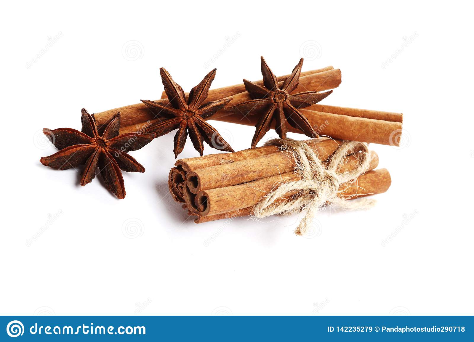 Cinnamon sticks and anise isolated on white background