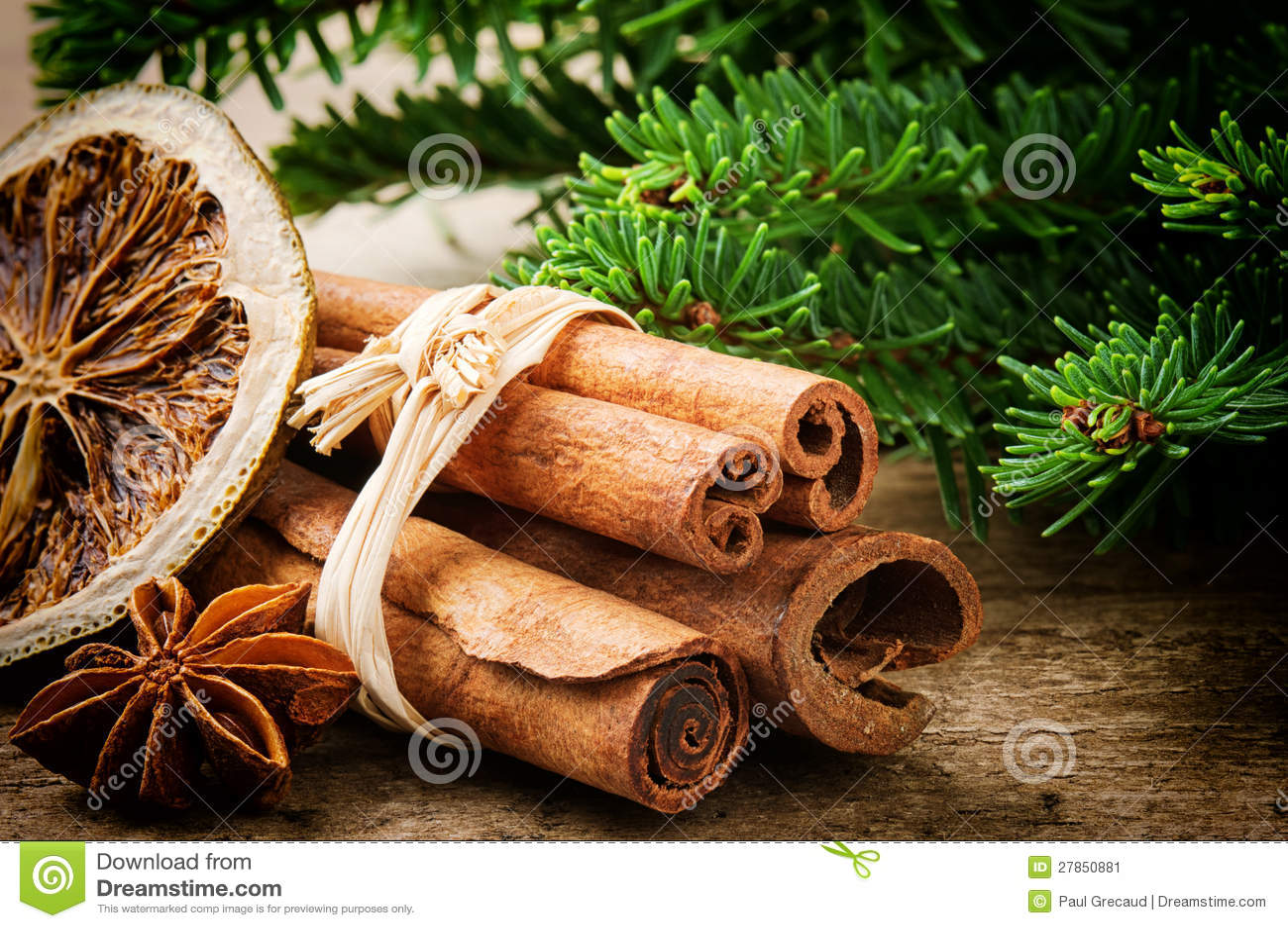 Cinnamon sticks, dried orange and aniseed