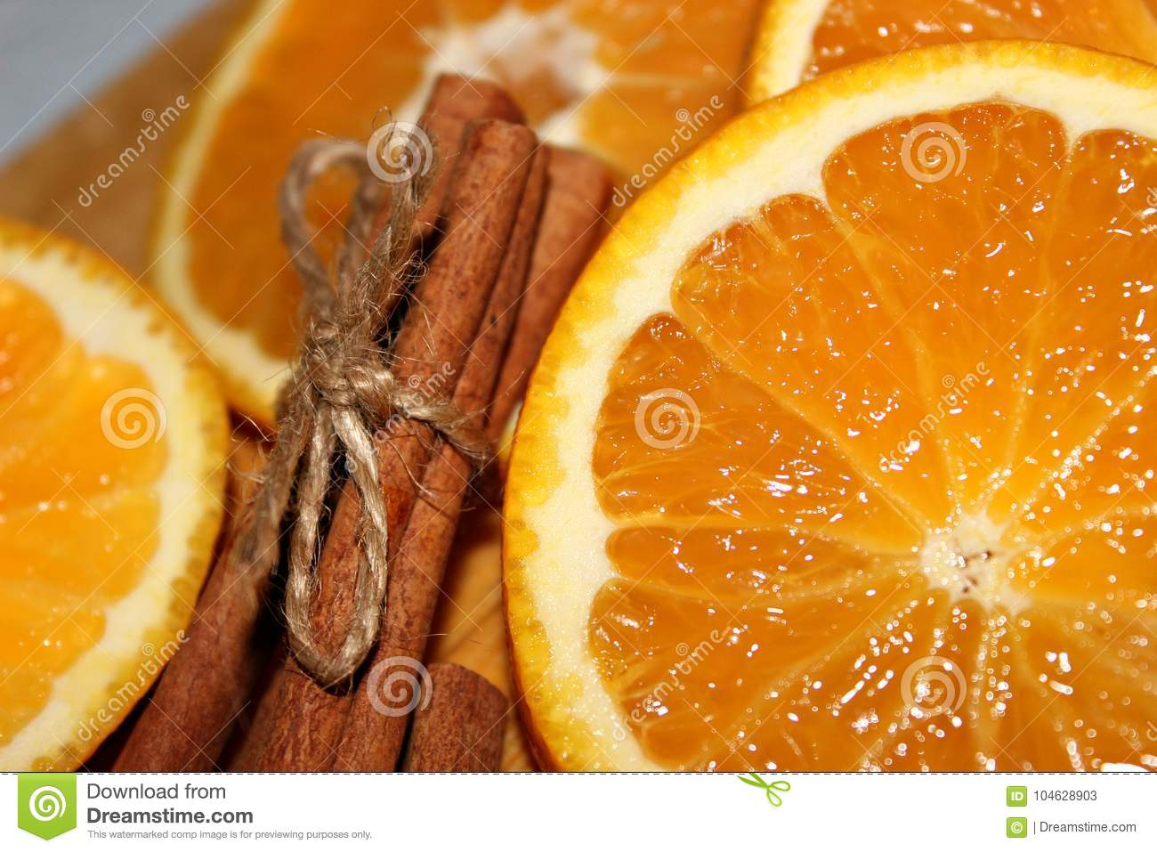 Orange with cinnamon close up