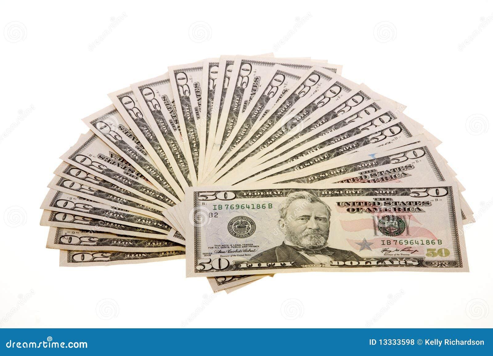 Cinqüênta contas de dólar