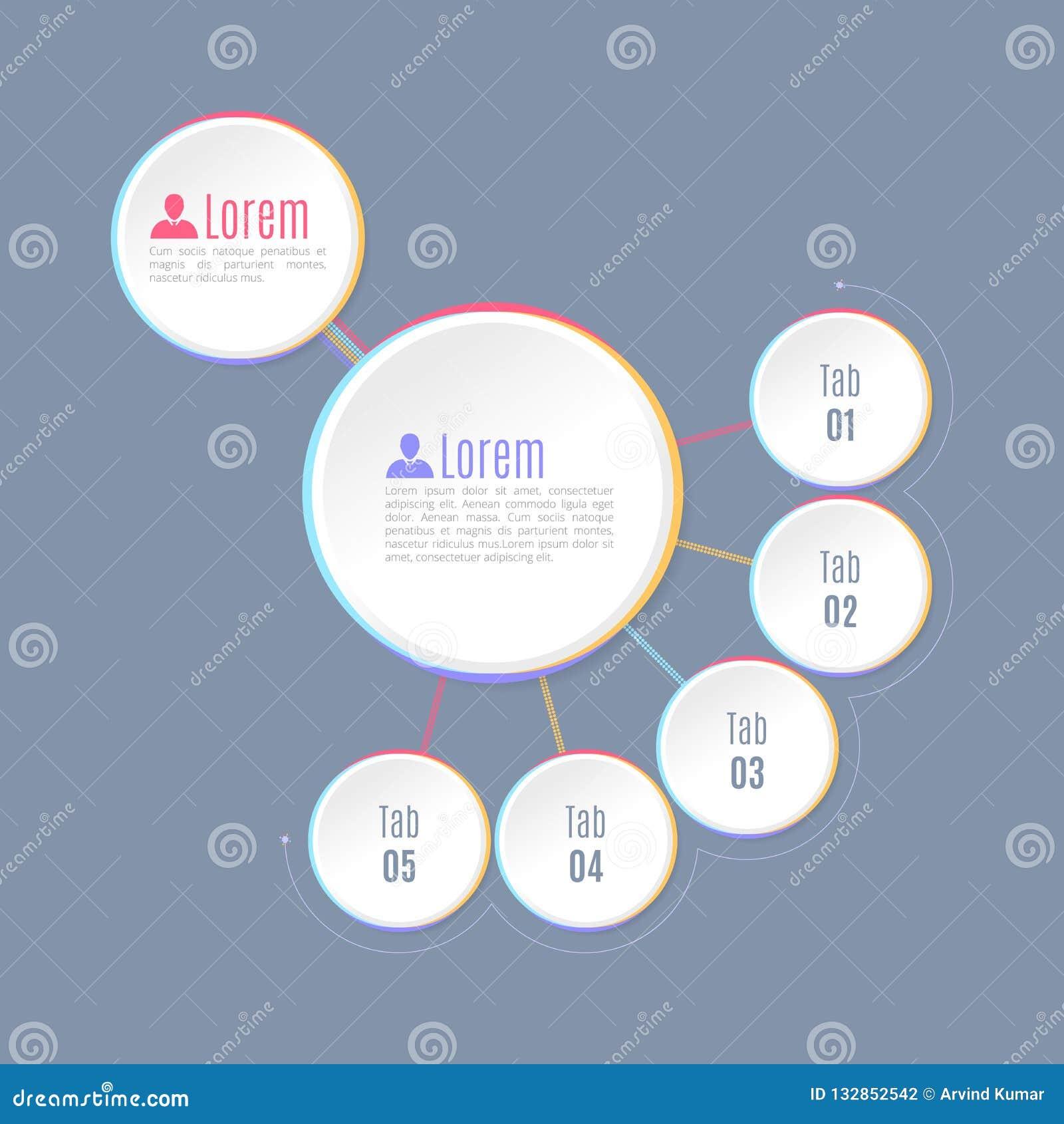 Cinq étape Infographics, formes circulaires, infographics de niveau multi de hiérarchie