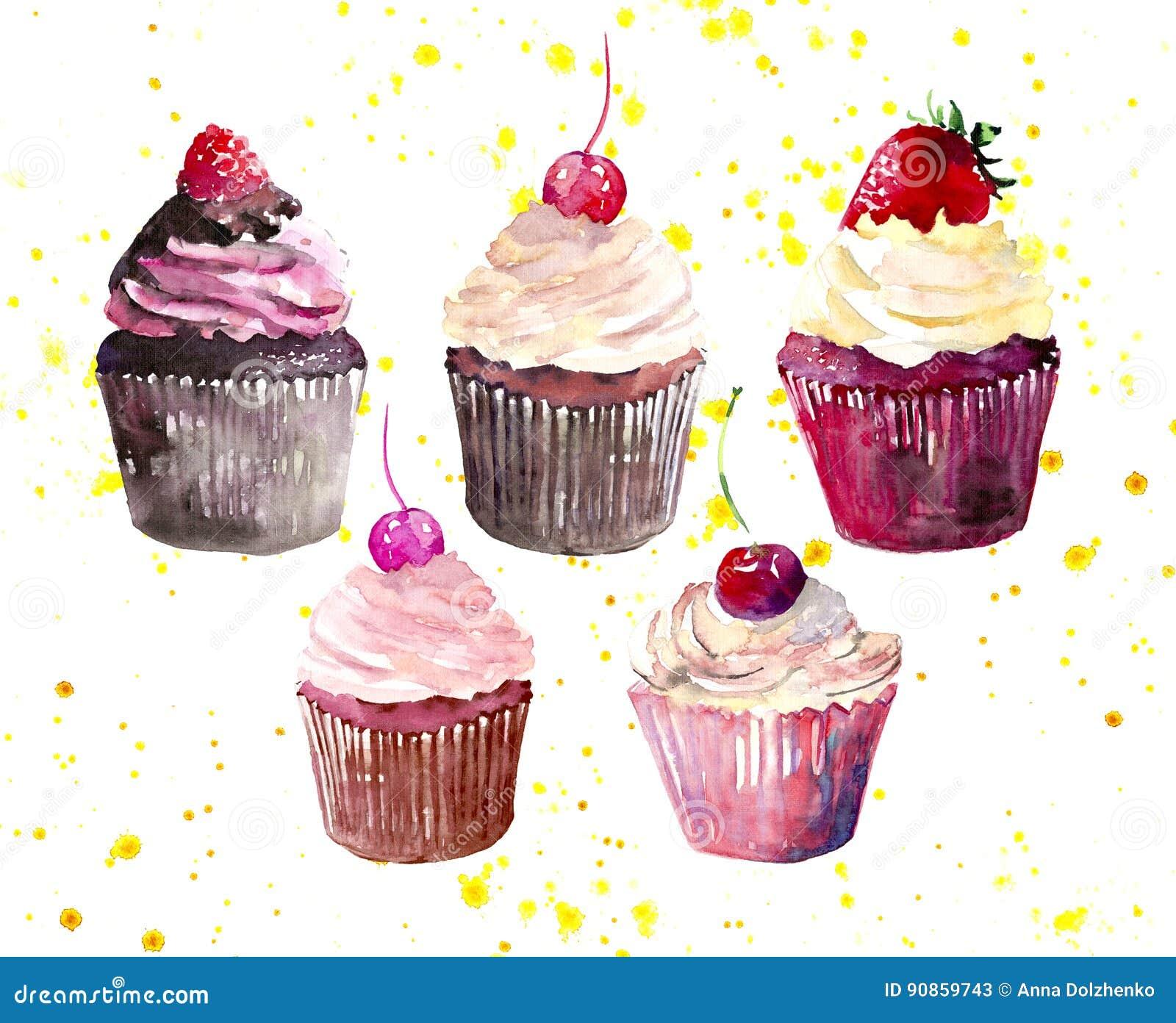 Cinq beaux petits gâteaux délicieux savoureux délicieux tendres lumineux de dessert d été avec la fraise et la framboise rouges d