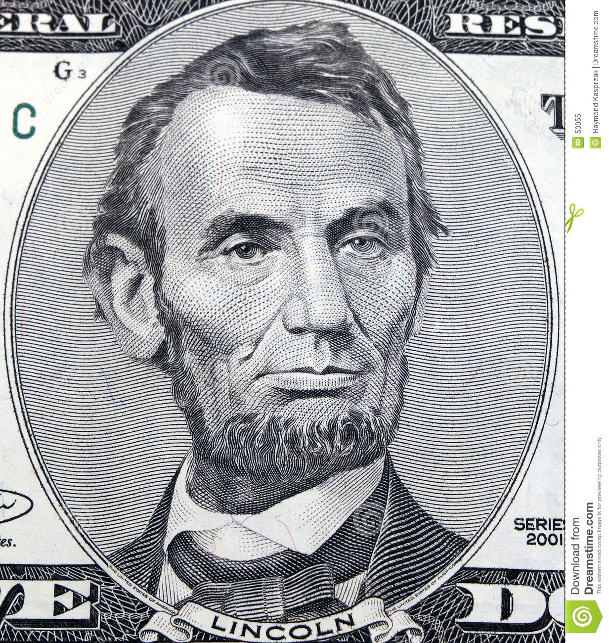 Download Cinq dollars Abraham image stock. Image du cinq, dollars - 53055