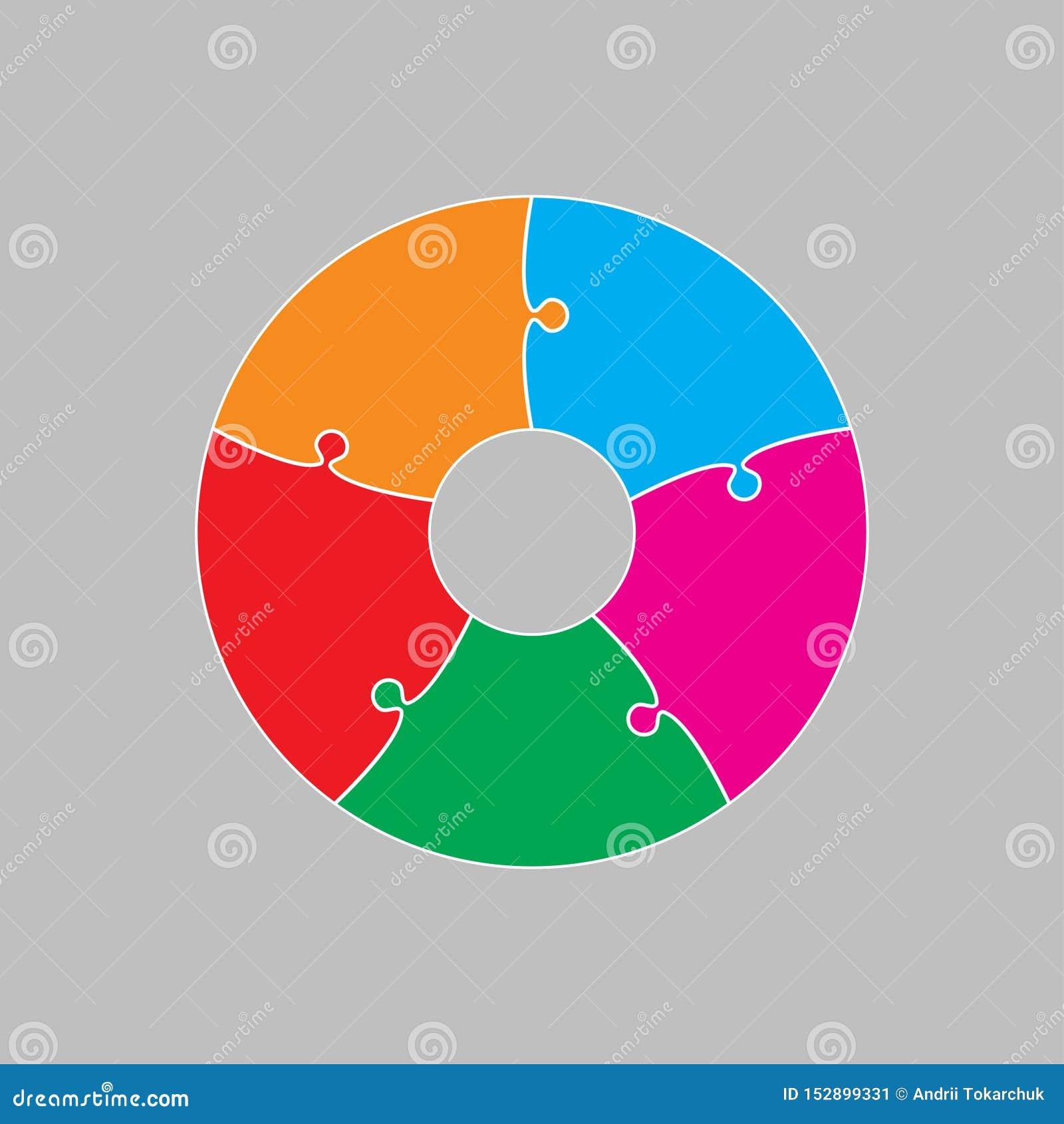 Cinq morceaux de puzzle denteux de cercle de graphique de l information