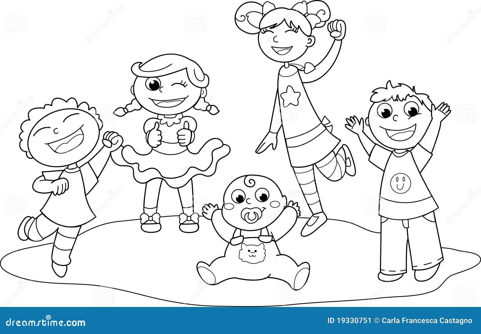 Pinto Dibujos Imagenes De Niños Felices Leyendo Para: Cinque Bambini Felici Illustrazione Vettoriale