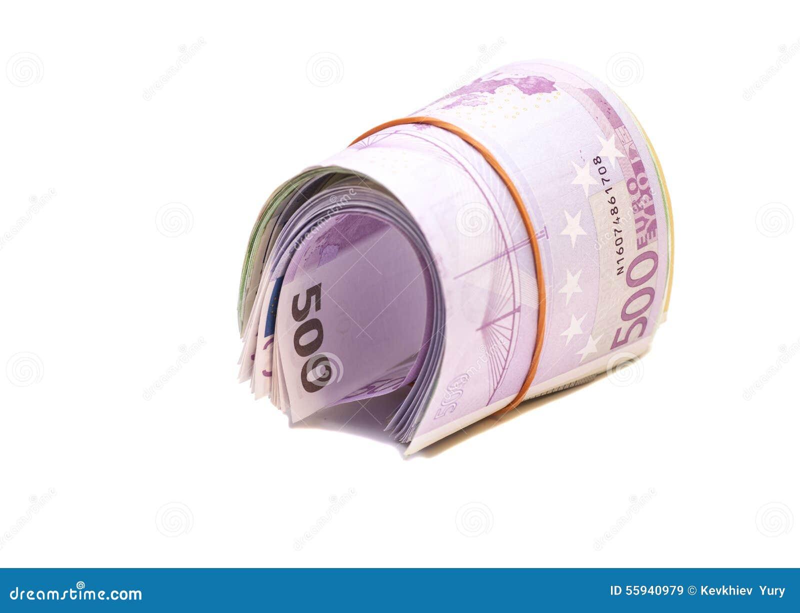 Cinque centesime euro banconote sotto l elastico