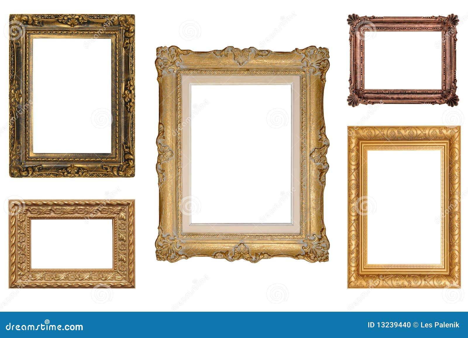 Cinque cornici antiche fotografia stock immagine di for Cornici x foto