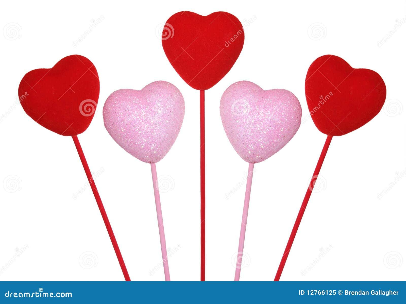 Cinque cuori dei biglietti di S. Valentino