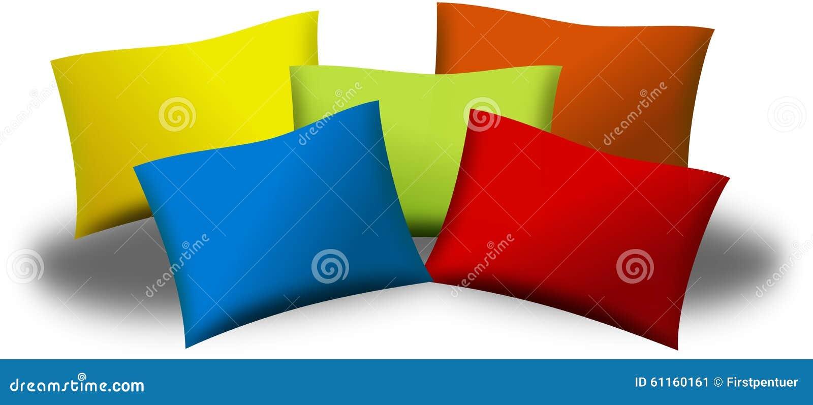 Cuscini Colorati.Cinque Cuscini O Cuscini Colorati Illustrazione Di Stock