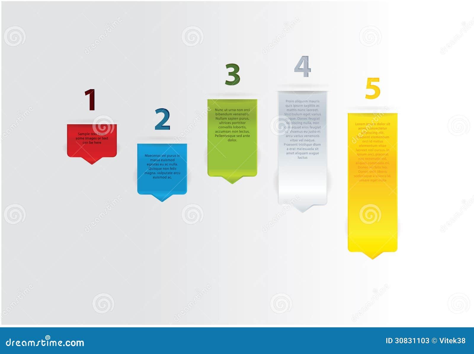 Cinque frecce moderne di vettore. Cinque punti, cinque colori differenti.