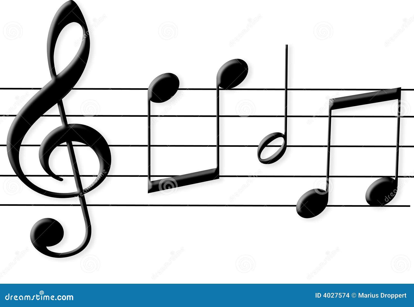 Cinque note nere lucide di musica con il tasto