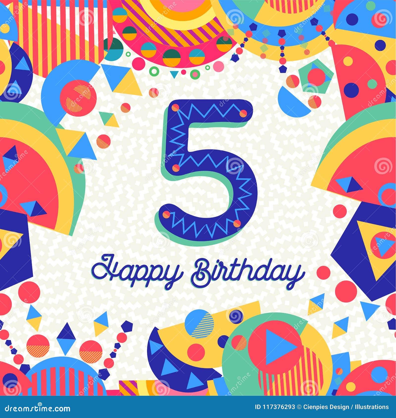 Auguri Buon Compleanno 5 Anni.Cinque Numero Della Cartolina D Auguri Della Festa Di