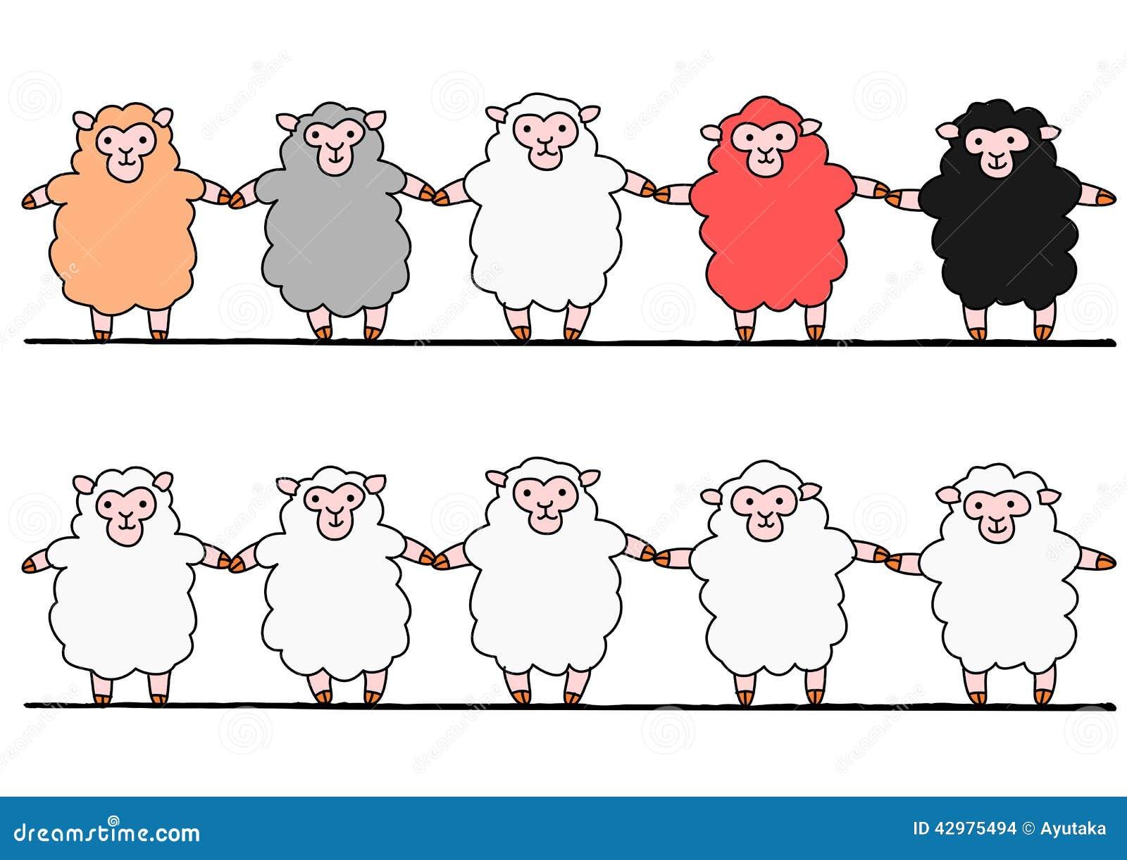 Cinque pecore congiuntamente