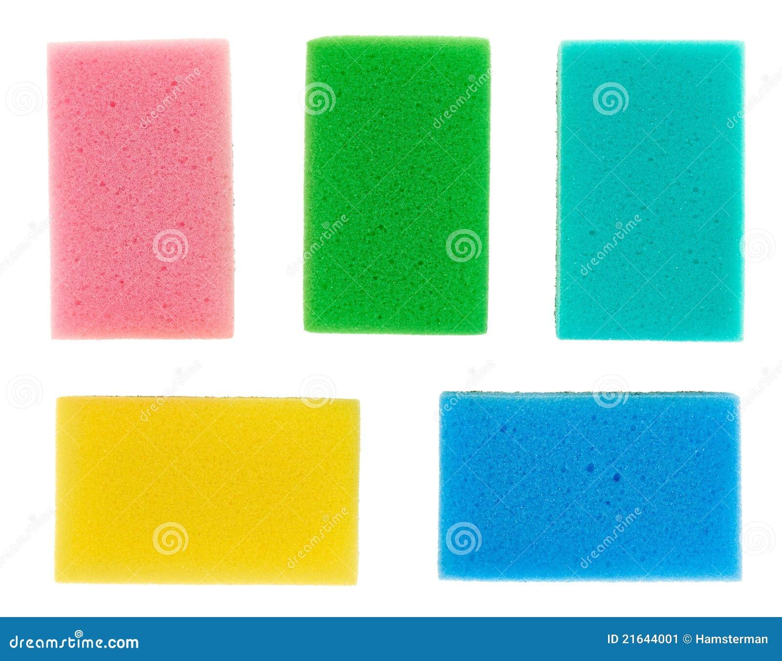 Cinque spugne multicolori della cucina della cellulosa