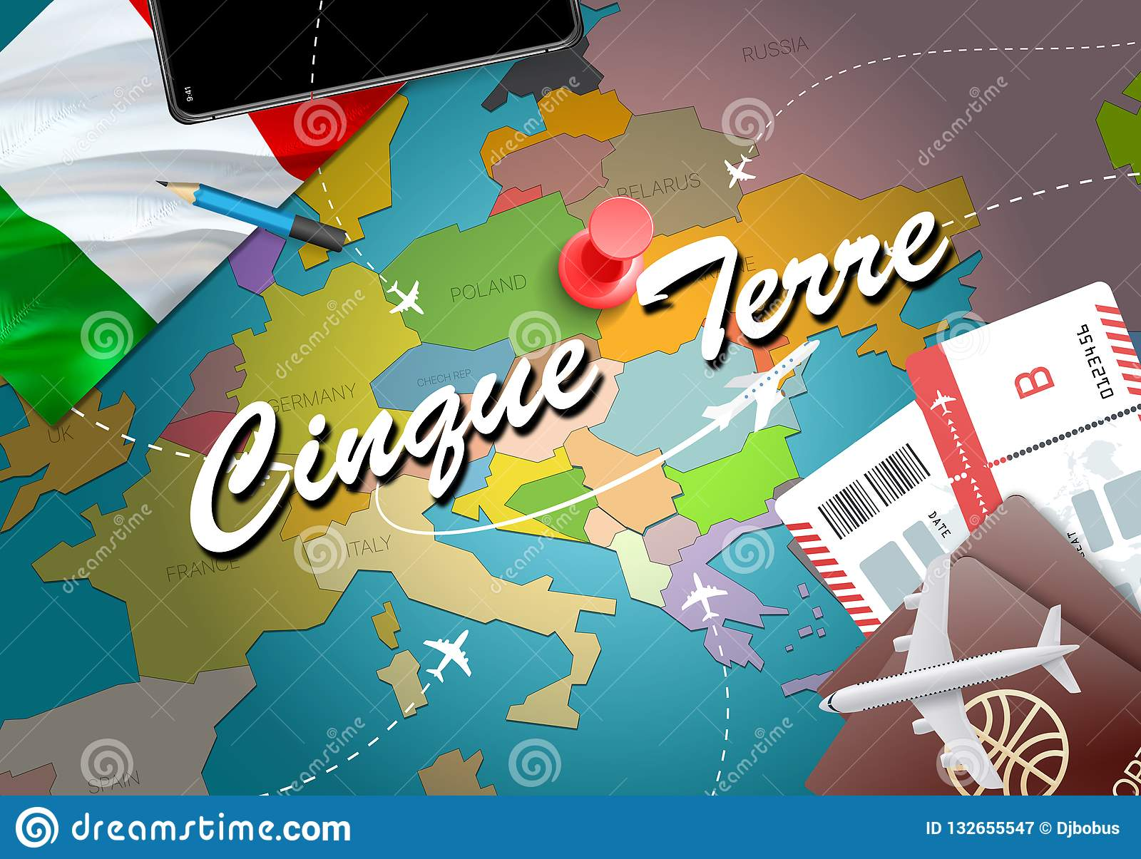 Italy Map Cinque Terre.Cinque Terre City Travel And Tourism Destination Concept Italy