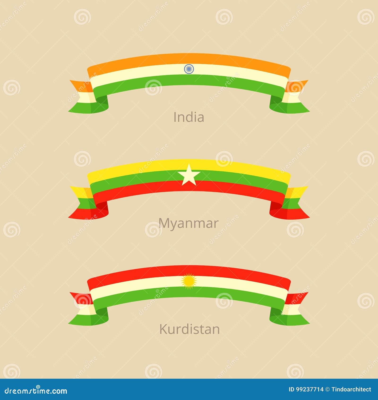 Cinta Con La Bandera De La India, De Myanmar Y Del Kurdistan ...