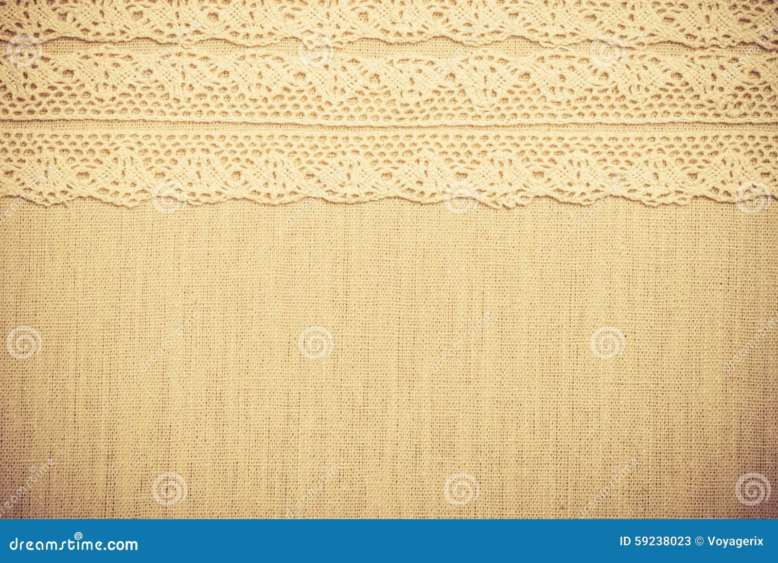 Cinta del cordón en fondo del paño de lino