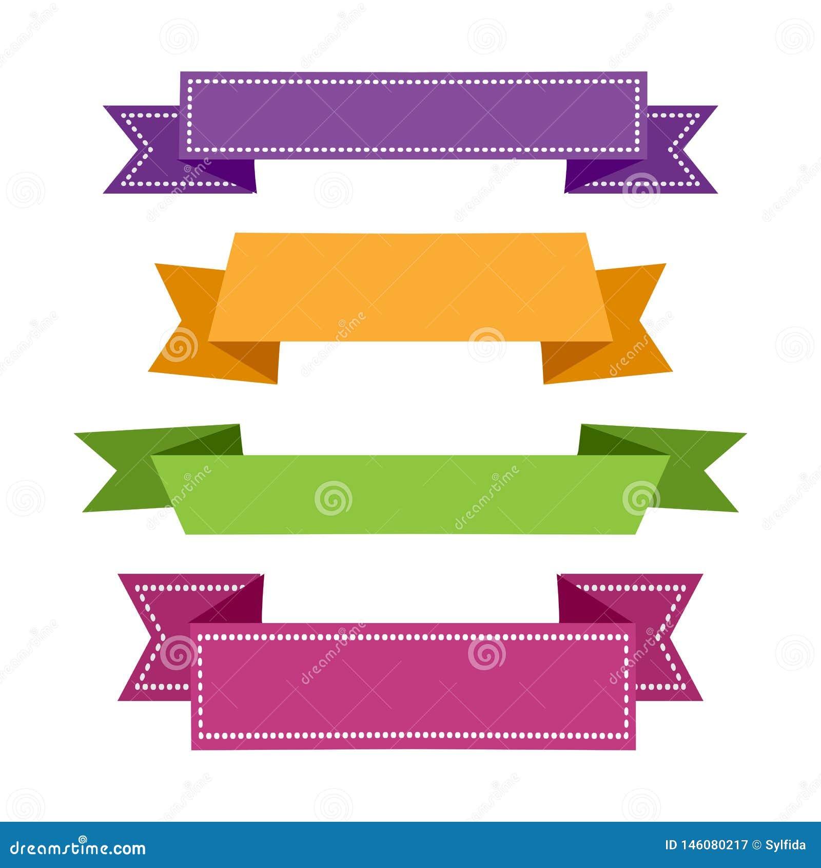 Cinta determinada colorida Banderas de las cintas Vector