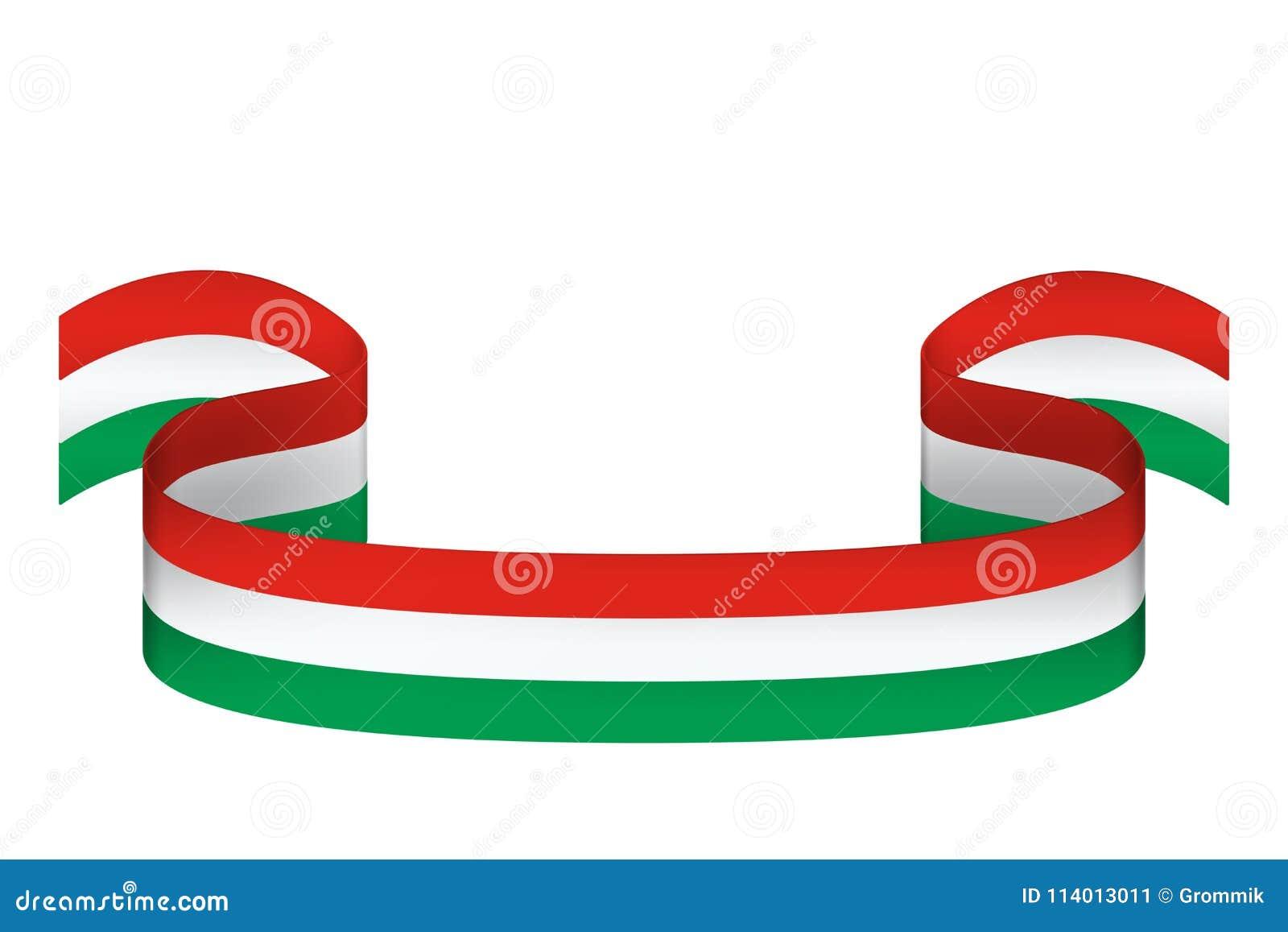 Cinta en los colores de la bandera de Hungría en el fondo blanco