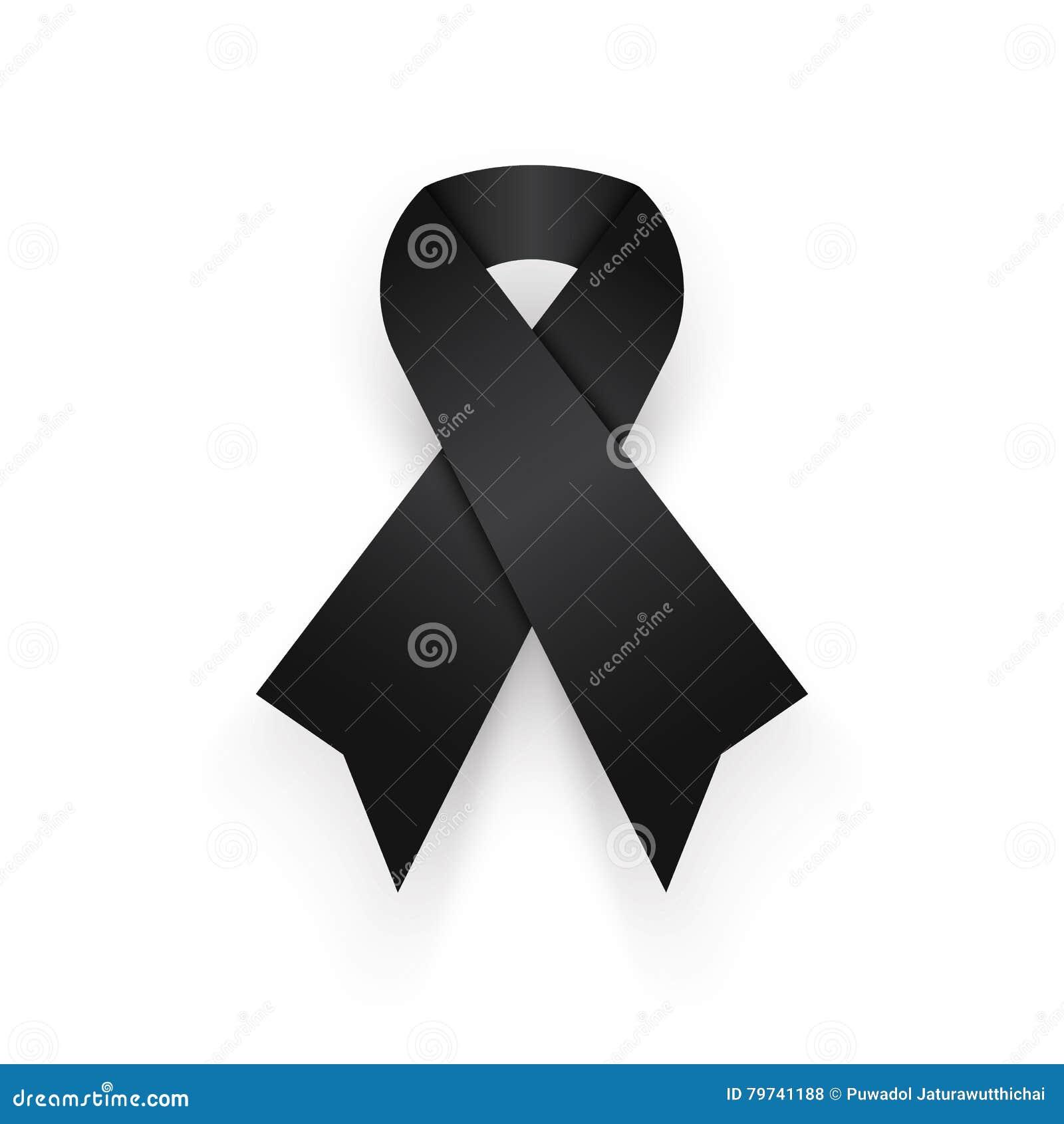 Cinta negra en el fondo blanco est de luto para el rey de tailandia desaparecen resto