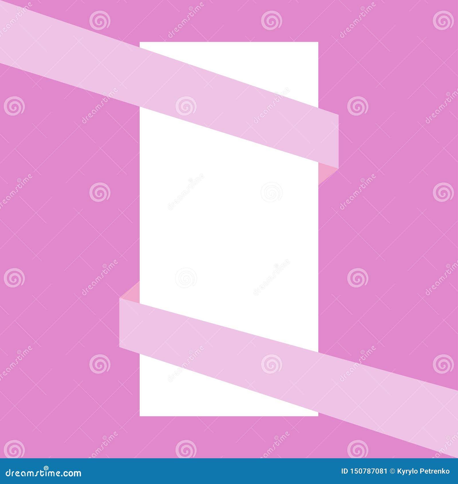 Cinta rosada que envuelve la hoja de papel blanca