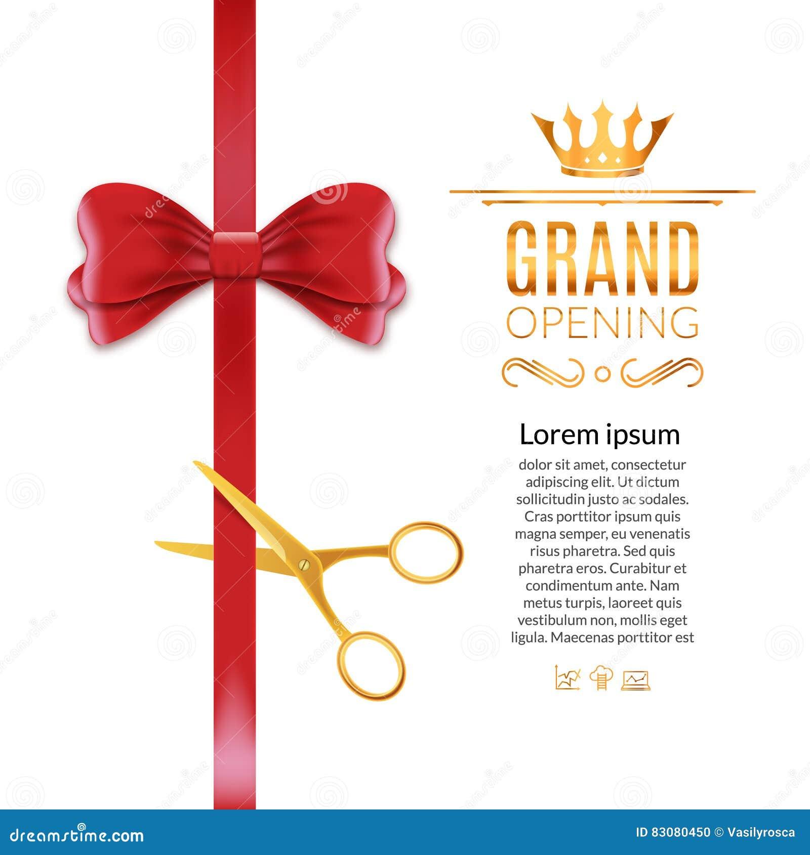 Cinta y arco rojos de la gran inauguración La ceremonia abierta scissor el fondo del corte de la cinta