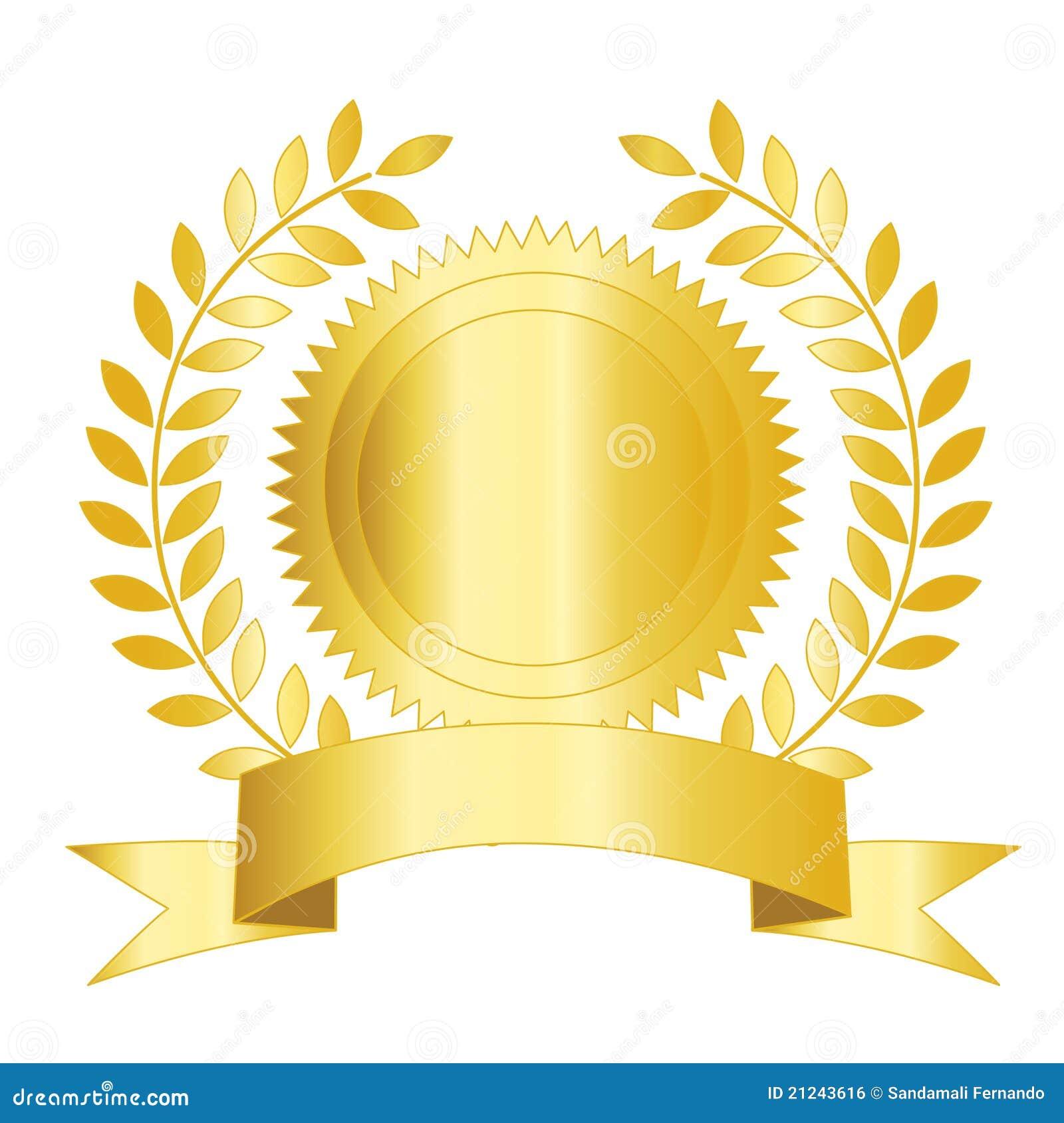 Cinta y laurel del sello del oro